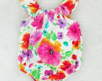 Rainbow Flower Romper