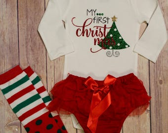 First Christmas Baby Bodysuit, First Christmas, Baby's First Christmas, Baby's 1st Christmas, Baby Christmas