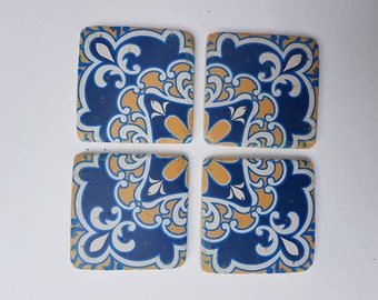 Set of Four Ceramic Blue and Yellow Tile Coasters ~  Mosaic Sicily ~ Living / Dining room