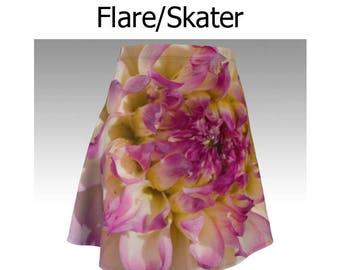 Pink Skirt, Floral Skirt, Flower Skirt, Dahlia Skirt, Pink Dahlia Skirt, Flare Skirt, Skater Skirt, Fitted Skirt, Bodycon Skirt, Women Gift