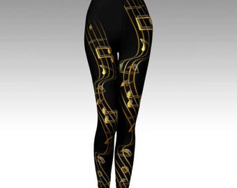 Music Leggings, Music Notes, Music Notes Leggings, Black Leggings, Activewear, Printed Legging, Women Legging, Running Legging, Yoga Legging