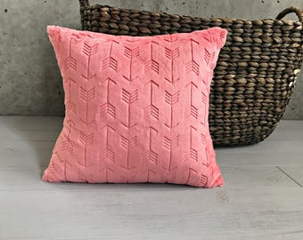 All Minky Pillow Cover in Coral Arrows  Crib Pillow Child Pillow Nap Pillow Toddler Pillow