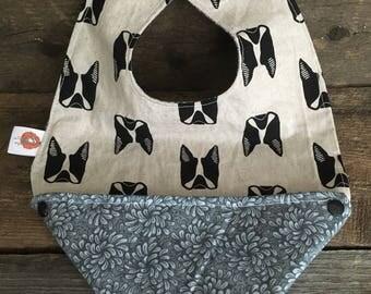 Scalable reversible bib for baby child bandana bavana bib boston terrier, pug dog blue grey flower