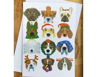 Christmas Cards, Funny Christmas Card, Dog Christmas Cards, Cute Holiday Card, Dog Lover Gift, Merry Christmas, Cocker spaniel, Beagle Card