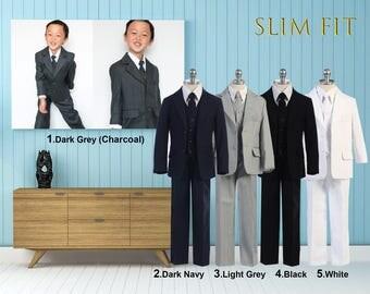 Slim Fit Premium Boys 5-Piece Suit Tuxedo, Dark Gray Charcoal, Light Gray, Dark Navy, Black, White, Wedding, Ring Bearer, Communion