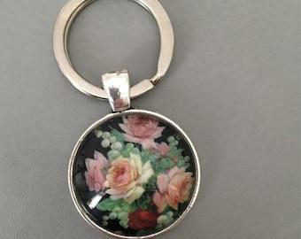 Vintage Shabby Chic Floral Keyring Rose