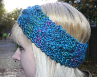 Chunky Cabled Headband in Cascade