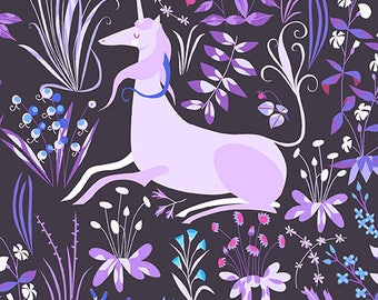 The Lovely Hunt, Tapestry, Unicorn on Purple, by Lizzy House, for Andover Fabrics, OOP, HTF