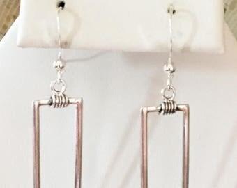 Sterling Silver Rectangular Earrings