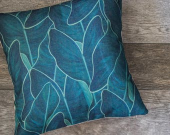 Green Pattern Pillow Cover, Green Leaf Pillow Cover, Green Throw Pillow, Decorative Pillow Cover, Designer Pillow Cover, Cushion Cover