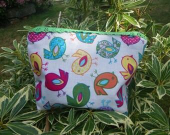 Pouch, toiletry bag/makeup/storage Zip fancy bird Birdy, blue green pink