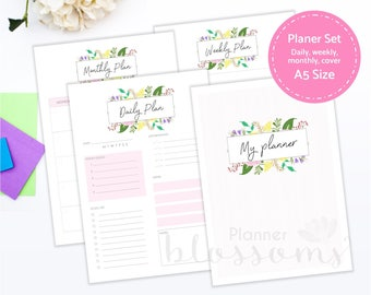 Printable Planner Insert Set A5. Daily planner, monthly planner, weekly planner. Pink floral planner binder inserts. Instant download. PDF