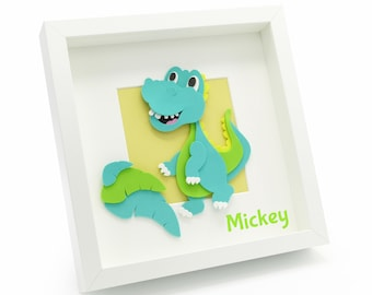 Childrens Dinosaur Picture. Personalised 3D Funky Foam Frame. Nursery Decor Kids Bedroom Decor Special Needs Children New baby Gift.