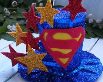 Mini Top Hat Headband Super Hero Mini Top Hat Birthday Party Hat Super Hero Baby Hat Top Hat Fascinator Blue Red Gold Mini Hat Baby Shower