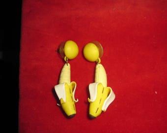 Delightful Tropical Paradise Fun Banana Peel Earrings
