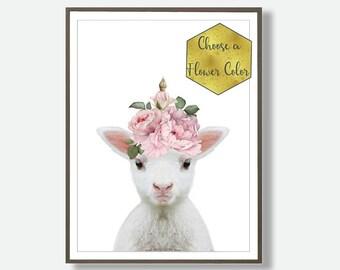 Nursery Lamb, Watercolour Art, Baby  Lamb Print, Printable Kids Decor, Nursery Art,  Lamb Wall Decor, Nursery Digital Decor, Nursery Sheep