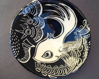 Fish bowl - illustrated pottery, handmade porcelain ceramic dish, hand built tableware, fish pattern, black and white sgraffito, candy dish