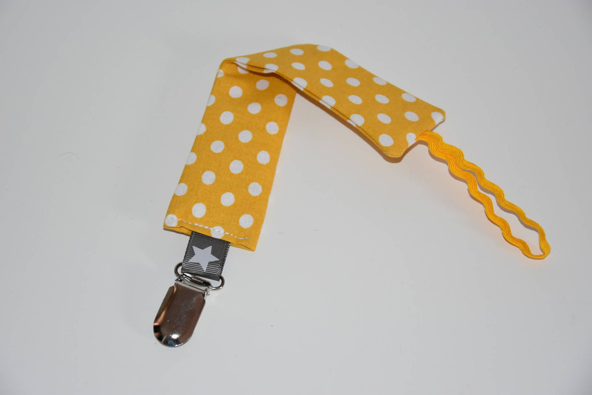 Attache t tine tissu tons jaune gris et blanc - Attache tetine tissu ...