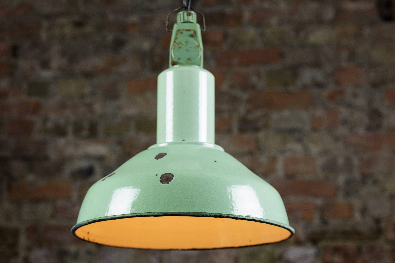 Green enamel pendant lamp vintage industrial factory light lamp green enamel pendant lamp vintage industrial factory light lamp shade loft style made in soviet union aloadofball Gallery