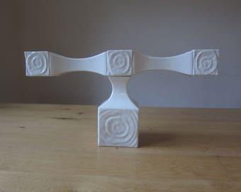 Sgrafo - porcelain (Sgrafo modern) vintage 60 / 70s Peter Müller design relief candlesticks / candle holders