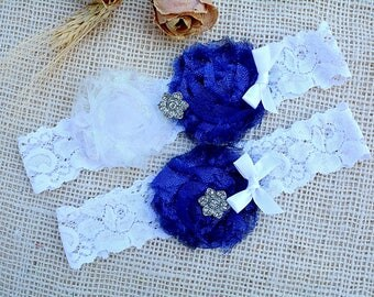 White Blue Garter, Royal Blue Garter, Glitter Garter Set, Blue Bridal Set, Somethig Blue, Garter For Wedding, Garter Set, Royal Blue Garter