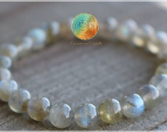 Labradorite Bracelet, 6mm Natural Genuine Labradorite beaded bracelet, Labradorite Crystal, High Grade Labradorite, Jewelry,Powerful stone!