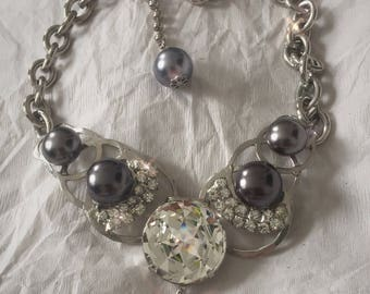 """Robert Sorrell for """"Broadway Bares"""" necklace in Grey Faux Pearls on Rhodium Plated Base Metal"""