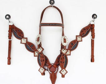 Black Snake Inlay Hand Cut and Tooled  Silver Western Leather Horse Bridle Headstall Breast Collar Cowgirl Cowboy Show Tack Set