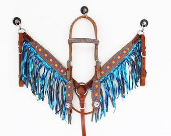 Embroidered Blue Fringe Bling pony Sized Headstall Leather Western Horse Trail Bridle Breast Collar Plate Barrel Racer Cowgirl Tack Set
