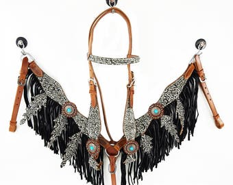 Fringe Leaf Bling Western Floral Embossed Leather barrel Horse Bridle Headstall Breast Collar Tack Set
