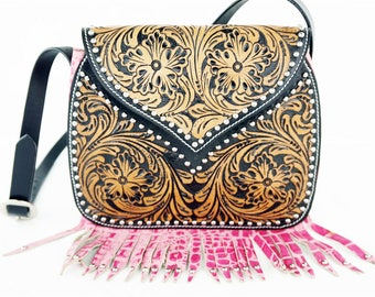 Handmade Pink Gator Classic Floral Tooled 2 Tone Leather Shoulder Hand Bag Western Style Fashion Purse
