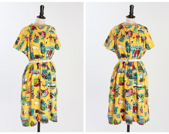 Vintage 1950s 50s Novelty Print Beach Cover Up Dress Tunic