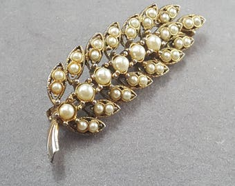 Vintage Pearl Leaf Feather Brooch Pin Gold Tone