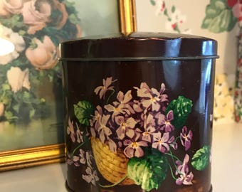 Vintage pretty violet Huntley and Palmers tin