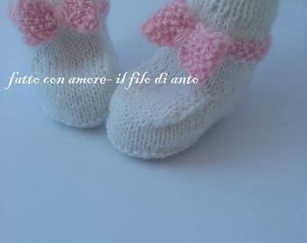 wool booties booties with pink bow