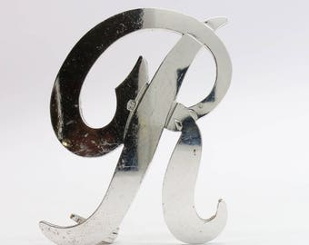 Silver monogram brooch letter R /Letter R brooch/Initial Pin/letter jewelry/name jewellery/initial brooch/free shipping/personal gift