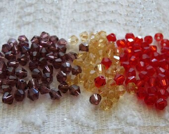 Red Crystal Beads, 4mm Crystal Beads, Bicone Beads, Faceted Crystal Beads, Red/Champagne/Deep Purple Faceted Bicone Beads,  Glass Beads