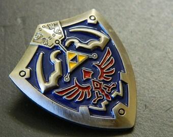 Silver Legend of Zelda Links Shield Lapel Pin - Legend of Zelda Silver, Blue, Red & Gold Shield Lapel Pin - Legend of Zelda Costume Pin