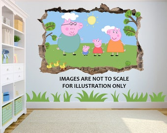 Peppa Pig 3D Effect Graphic Wall Vinyl Sticker Decal Part 74