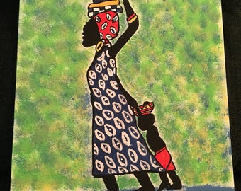 Lady & child on way to market 11x16