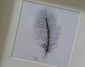 Framed feather print // feather print // feather painting // feather drawing // feather art // feather home decor // feather wall art