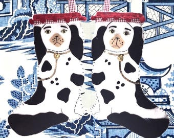 Chinoiserie, Dog Stocking, Southern Christmas Decor, Staffordshire Dogs, Preppy Stocking, Cavalier King Charles, Victorian Christmas Decor