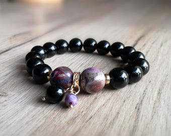 Black Agate Bracelet, Gemstones  Bracelet, Birthday Gift, Black bracelet, Purple bracelet
