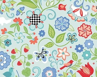 1 yard Floral LightBlue quilt cotton from Folk Art Fantasy collection by Amanda Murphy for Contempo fabrics