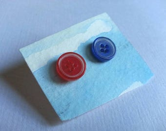 Red and Blue Button Earrings