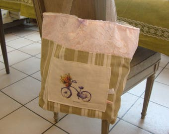 Bag romantic lace and transfer bicycle linen cotton ticking