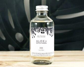 Facial Toner: ALOE + WITCH HAZEL - aloe vera leaf juice, aloe and witch hazel, non drying, alcohol free toner, hydrating toner mist