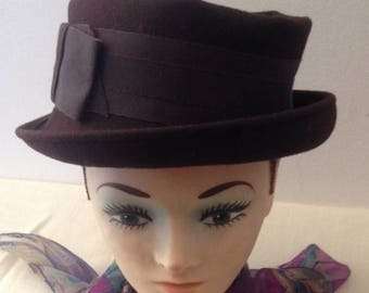 Anniversary Sale Ladies Vintage Brown Hat with Bow