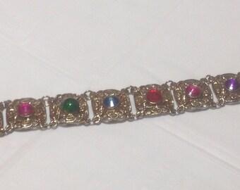Vintage Goldtone Multi Color Bracelet