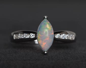 natural white opal ring opal anniversary ring October birthstone marquise cut white gemstone sterling silver ring